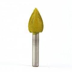 """Frez do drewna Saburrtooth w kształcie """"płomień"""", 6,35x13x19 mm. Drobna ziarnistość."""
