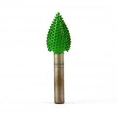 """Frez do drewna Saburrtooth w kształcie """"płomień"""", 6,35x13x19 mm. Gruba ziarnistość."""